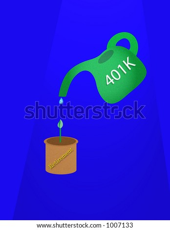401k watering can dripping small dollar sign, drip into a pot with sprout, conceptual for feeding retirement fund and growth. - stock photo