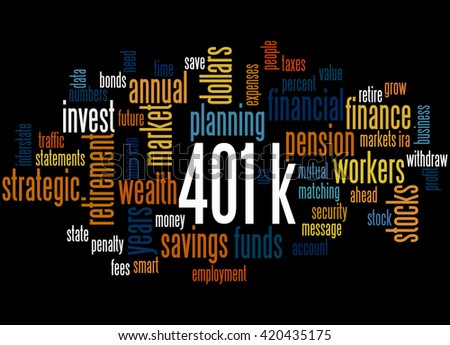 401k, word cloud concept on black background.  401k - retirement savings plan sponsored by employer.