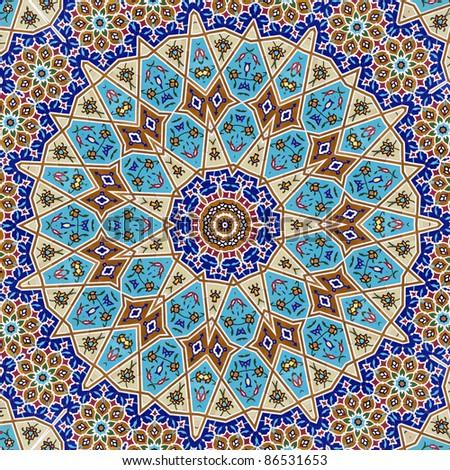 kaleidoscopic mosaic wall - stock photo