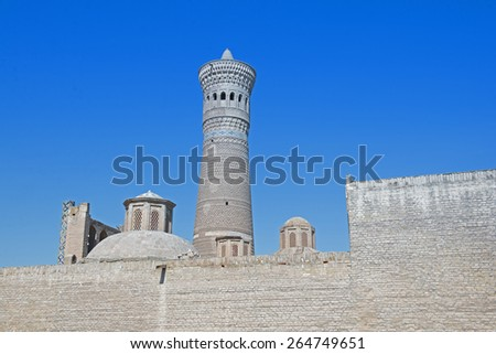Kalyan Minaret. Old Bukhara, Uzbekistan. - stock photo