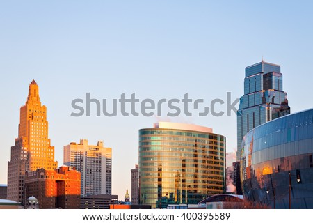 Kansas City architecture at sunrise. Kansas City, Missouri, USA.
