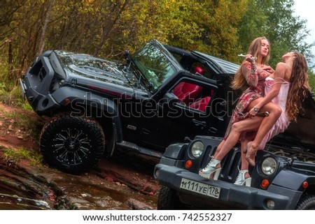 Jeep Official Site >> 01102017 Karelia Russia Two Beautiful Girls Stock Photo (Royalty Free) 742552327 - Shutterstock