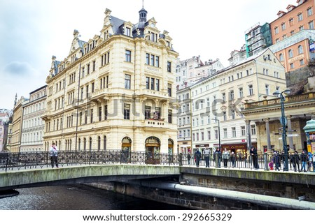 Karlovy Vary in Czech Republic historically famous for its hot springs (13 main springs, about 300 smaller ). 20.03.2015 - stock photo