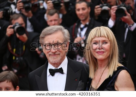 Kate Capshaw, Steven Spielberg attend he screening of 'The BFG' at the annual 69th Cannes Film Festival at Palais des Festivals on May 14, 2016 in Cannes, France. - stock photo