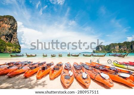 kayaks on the tropical beach, Thailand - stock photo