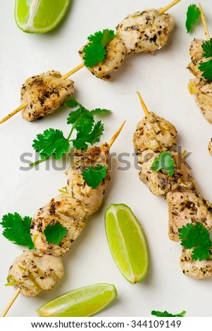 kebab from chicken. top view. selective focus - stock photo