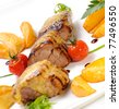 kebab with fried potatoes - stock photo
