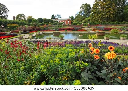 Kensington palace garden in London - stock photo