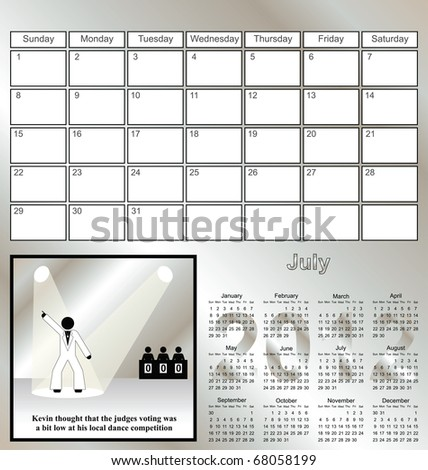 2012 Kevin series calendar for the month of July