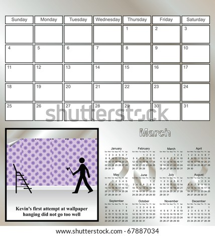 2012 Kevin series calendar for the month of March
