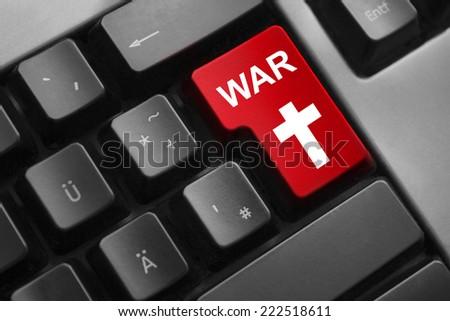 keyboard red button cyber war kill - stock photo