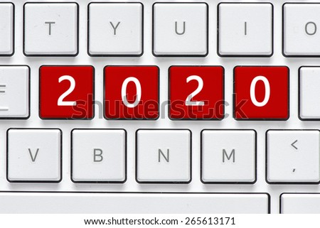Keyboard with 2020 button. Computer white keyboard with 2020 button - stock photo