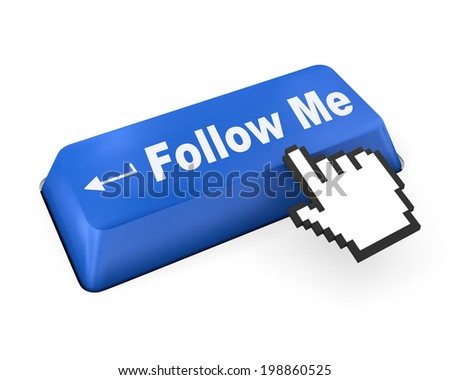 keyboard with  Follow Me button like  - stock photo