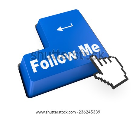 keyboard with  Follow Me button , social media - stock photo