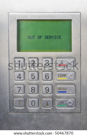 keypad of ATM (Automated Teller Machine) - Out of service status - stock photo