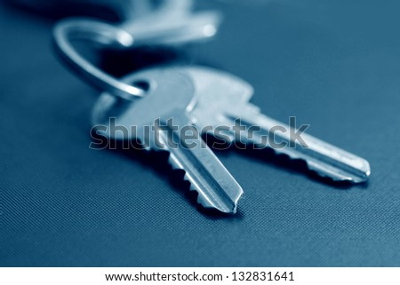 keys in blue tone - stock photo