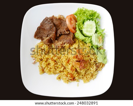 Khao Mok Nua' Thai Beef Biryani, Halal Beef and Curry Rice - stock ...