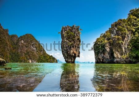 Khao Phing Kan or Ko Tapu Island in Thailand near Phuket, popular tourist destination known as James Bond Island. - stock photo