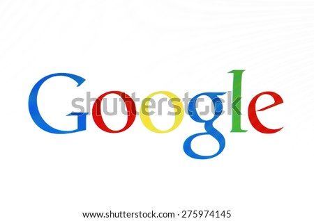 KIEV, UKRAINE - MAY 03, 2015: Google logo  on pc screen.  Google it is the largest Internet search engine, owned of Google Inc. - stock photo