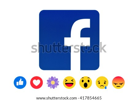 Kiev, Ukraine - May 09, 2016:New Facebook like button Empathetic Emoji Reactions in the form of a flower likes and his name is THANKFUL on pc screen. Facebook is a known social networking service. - stock photo