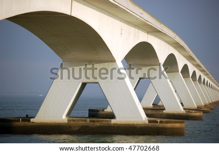 5 kilometer long bridge called Zeelandbrug in the Netherlands - stock photo