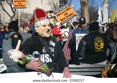 """King George"" at anti war rally on the National Mall, Washington, DC, Saturday, January 27, 2007. - stock photo"