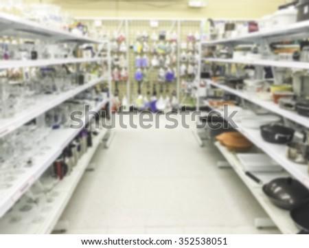 kitchen utensil aisle,some scene  in thrift store.-blurred. - stock photo