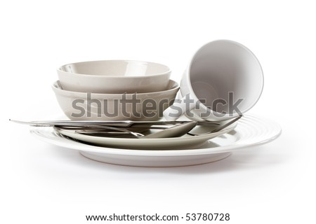 kitchenware on white background - stock photo