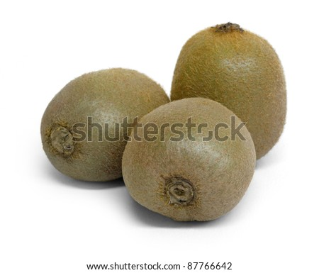3 kiwi fruits in white back with shadow - stock photo