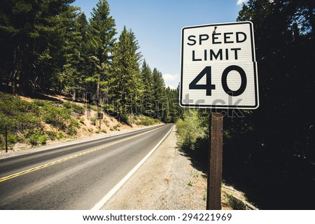 40 km speed limit sign in Yosemite National Park  - stock photo