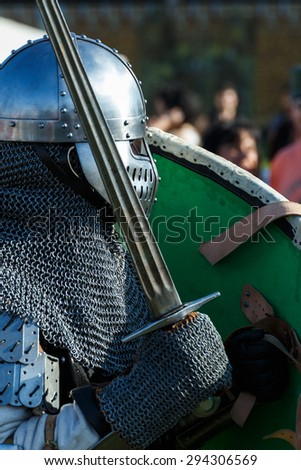 knight with sword - stock photo