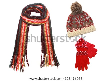 knitted cap, scarf and gloves  isolated on  white - stock photo