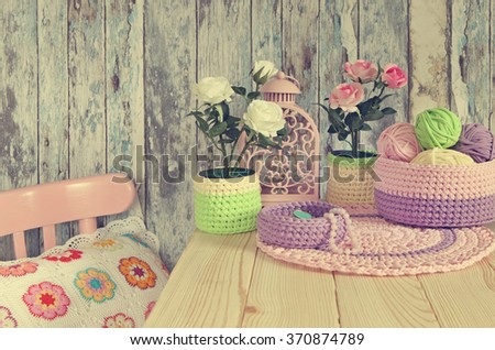Knitted Decor Ideas for home.Crochet Baskets,Doilies,Pillow