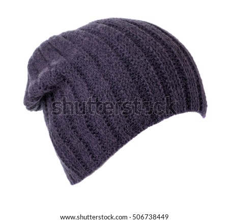 knitted hat isolated on white background . blue hat .