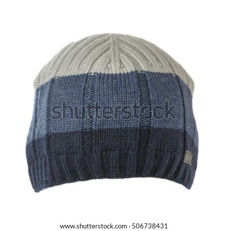 knitted hat isolated on white background . hat with stripes .