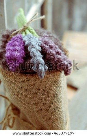 knitted lavender flower for mother day or valentine day