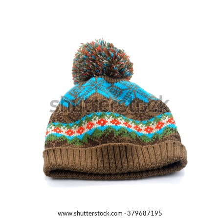 knitted wool hat with pom pom isolated on white background - stock photo