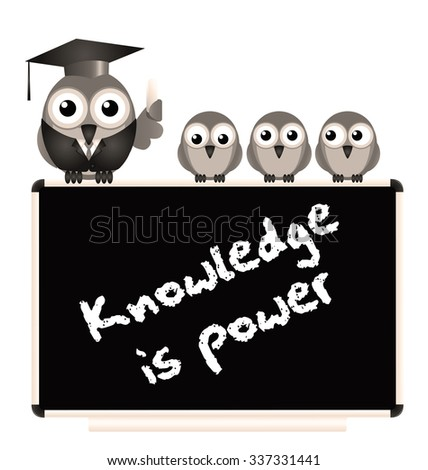 Knowledge is power message on blackboard with bird teacher and Pupils isolated on white background  - stock photo