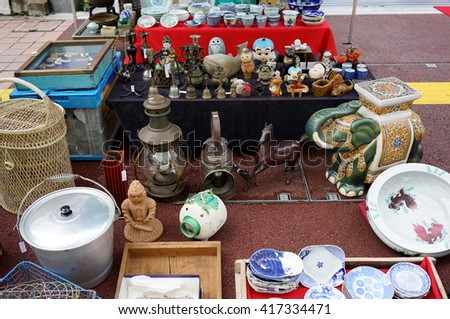 KOCHI, JAPAN- April 24: Weekly Flea market on Kochi-Nichiyoichi (Otesuji-street), merchant display curiosities and vintage for sale on April 24,2016, the Japan.                              - stock photo