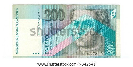 200 koruna bill of Slovakia, grey picture, cyan pattern