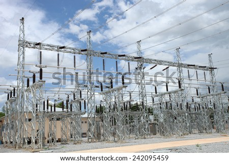 115 kV substation or outdoor switchgear. - stock photo