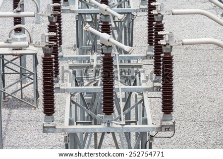 115 kv switch in sub station - stock photo