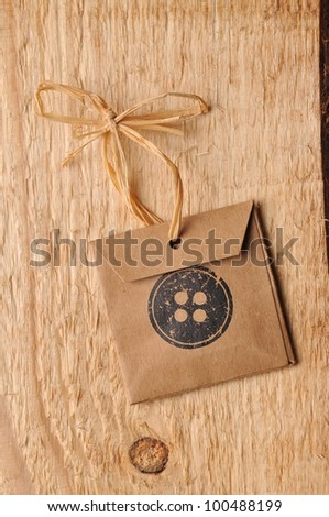 label on the wooden background - stock photo