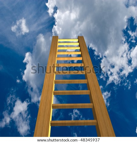 Ladder reaching into a deep blue sky with white clouds - stock photo