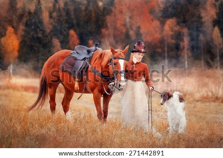Lady in riding habbit XIX Century with russian borzoy dogs at horse hunting.  Imitation of old oil painting - stock photo