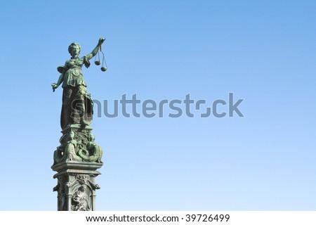 Lady Justice  statue in Frankfurt - stock photo