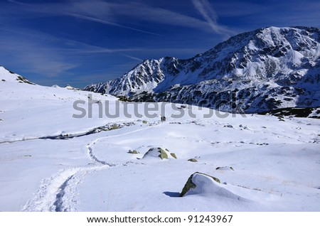 5 lakes valley in winter, High Tatra Mountains