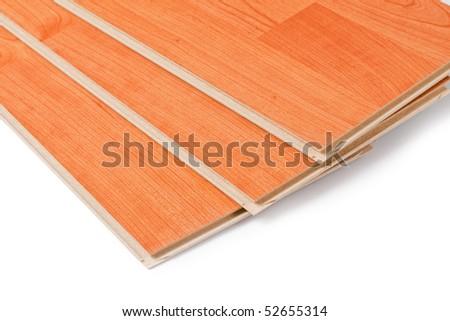 laminate floor on wooden background - stock photo