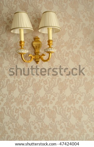Lamp on the wall - stock photo