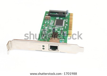 10/100 LAN card with PCI fitting - stock photo
